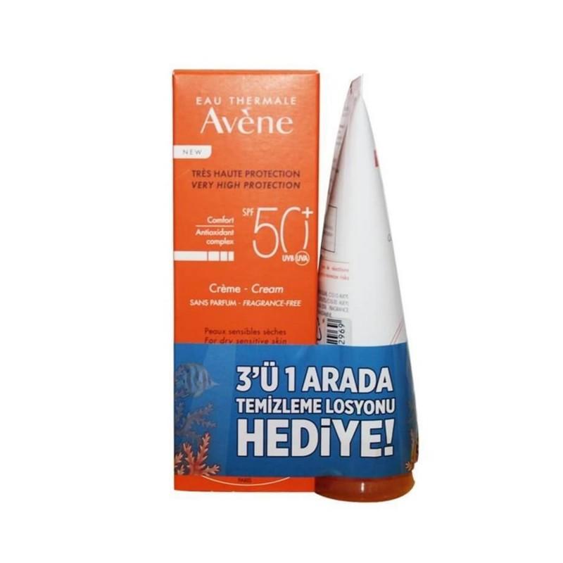 Avene Creme Spf50 50 ml Güneş Kremi + 3'ü 1 Arada Temizleme Losyonu Hediye