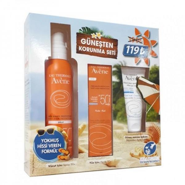 Avene Emulsion Spf 50+ 50 ml + Spray Spf 50+ 200 ml & After Sun 50 ml Güneşten Korunma Seti