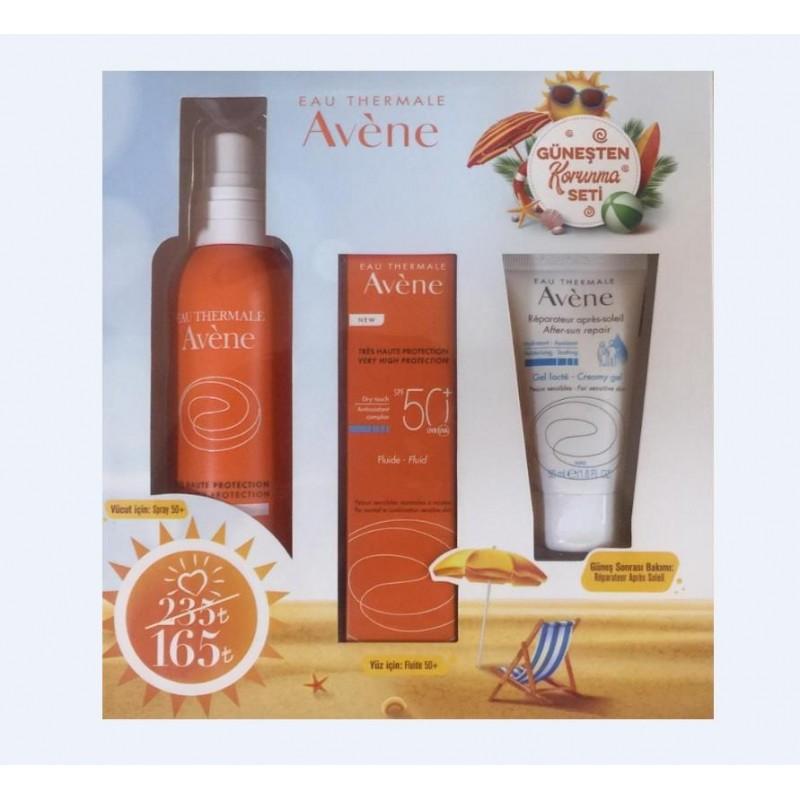Avene Fluide Spf50+ 50ml + Spray Spf50+ 200ml + After Sun 50ml Güneşten Korunma Seti