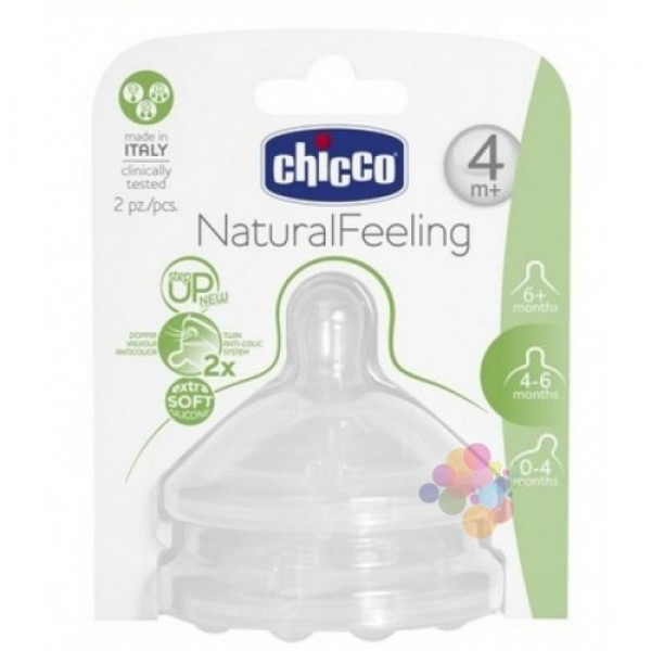 Chicco Natural Feeling Biberon Emziği Hızlı Akış İkili (4+ Ay)