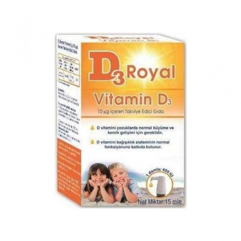 D3 Royal Vitamin D3 Damla 15 Ml 400 Iu