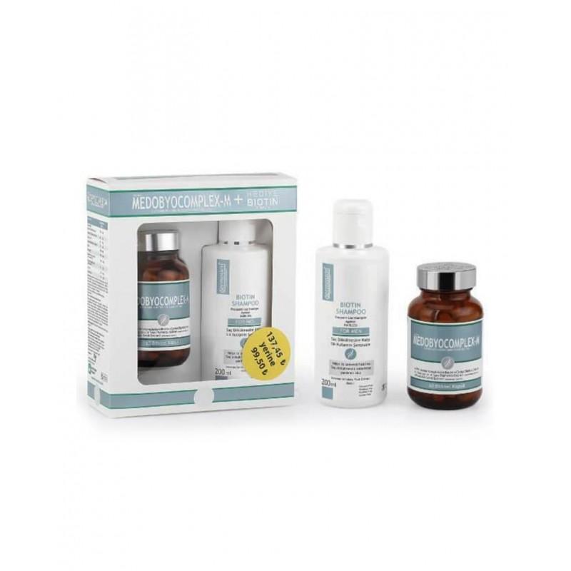 Dermoskin Medobiocomplex-E 60 Kapsül + Biotin Şampuan 200 ml Hediye