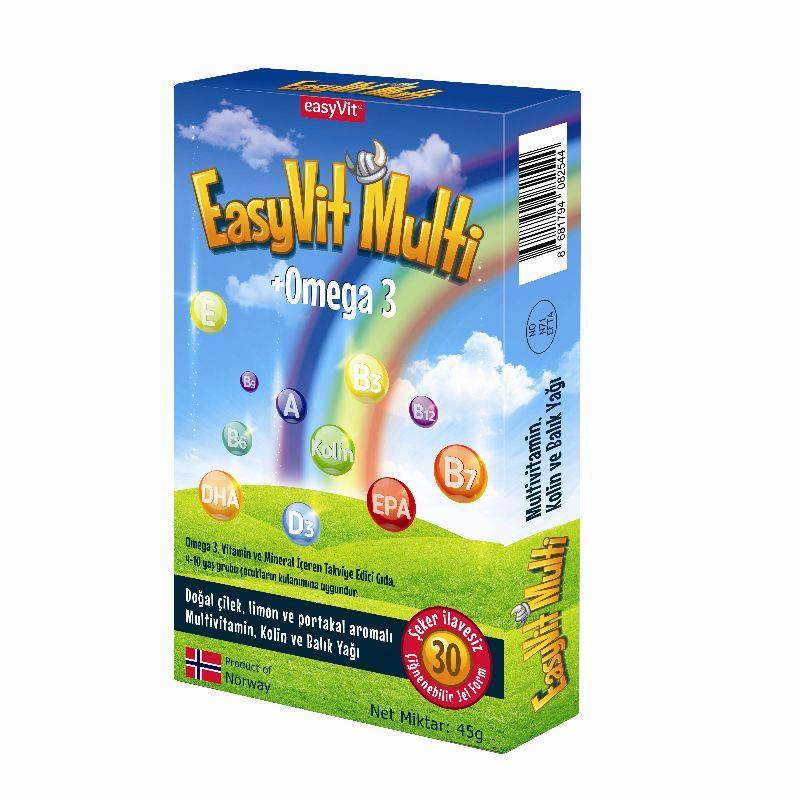 Easyvit Multi + Omega 3 Çiğnenebilir Jel 30 Tablet