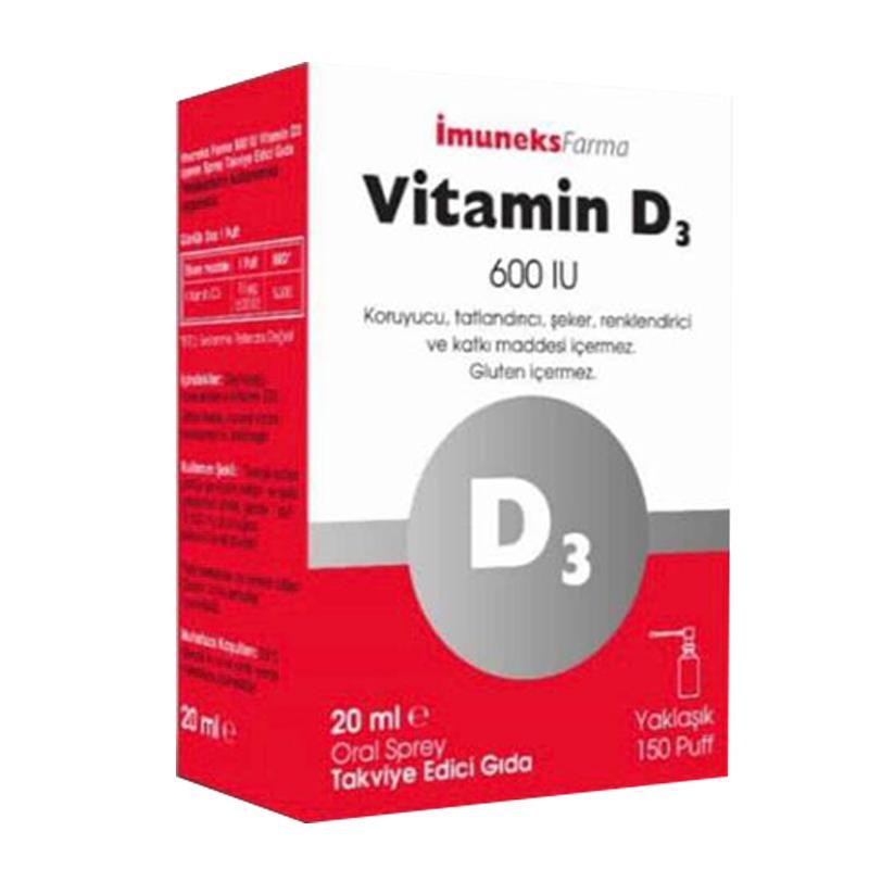 İmuneks Vitamin D3 Sprey 600 IU 20 ml