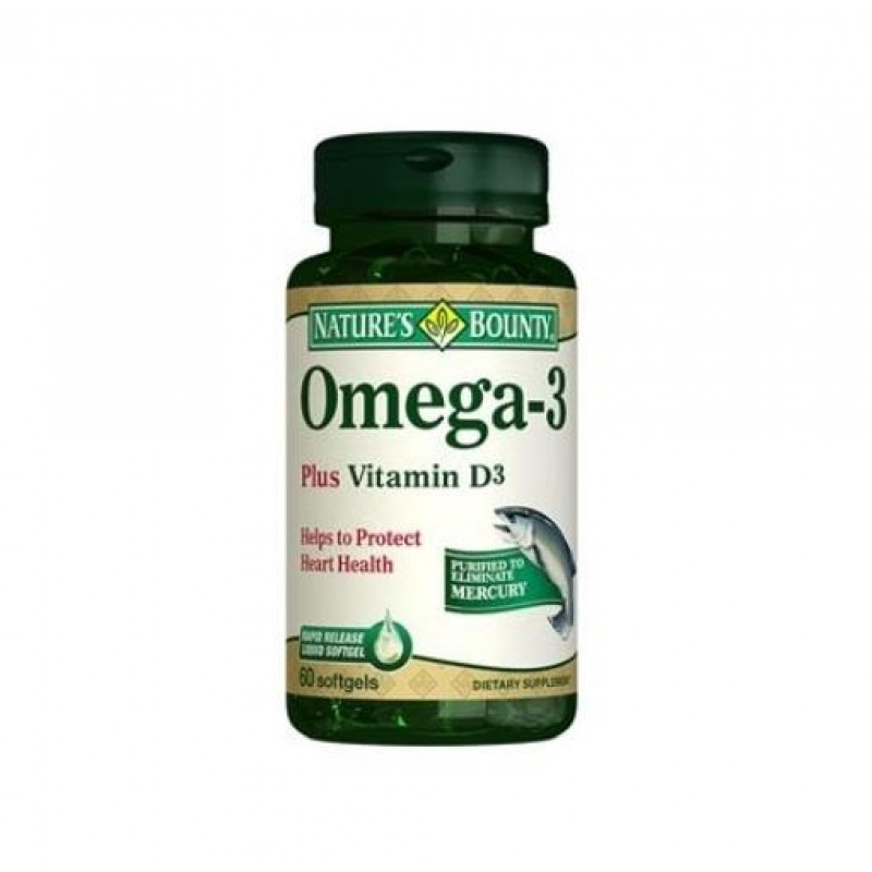 Nature's Bounty Omega-3 Plus Vitamin D3 60 Softjel