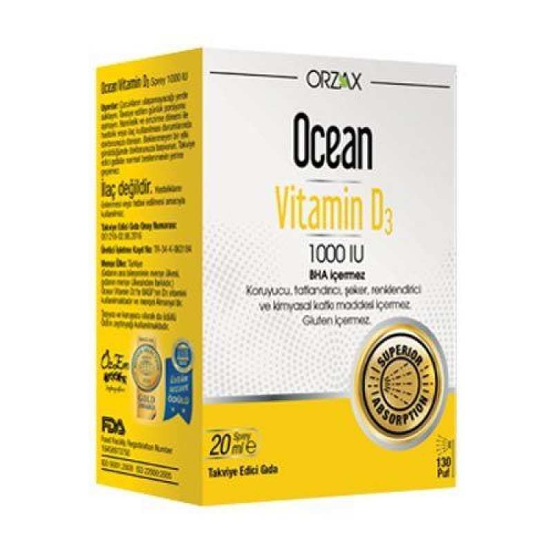 Orzax Ocean Vitamin D3 1000 IU Sprey 20 ml