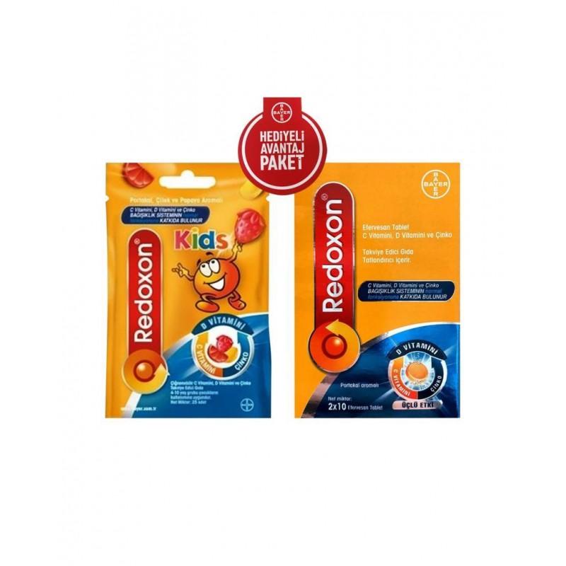 Redoxon_Kids 25 Çiğnenebilir Form + Redoxon_Üçlü Etki 20  Tablet