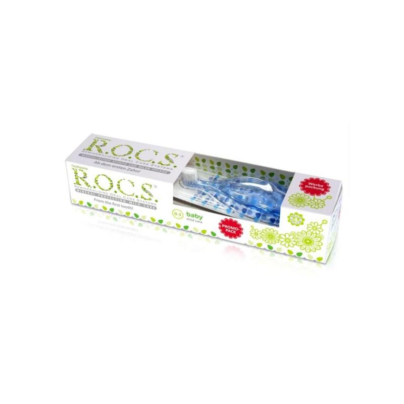 Rocs 0-3 Yaş Set Diş Fırçası ve Diş Macunu  (Mavi )