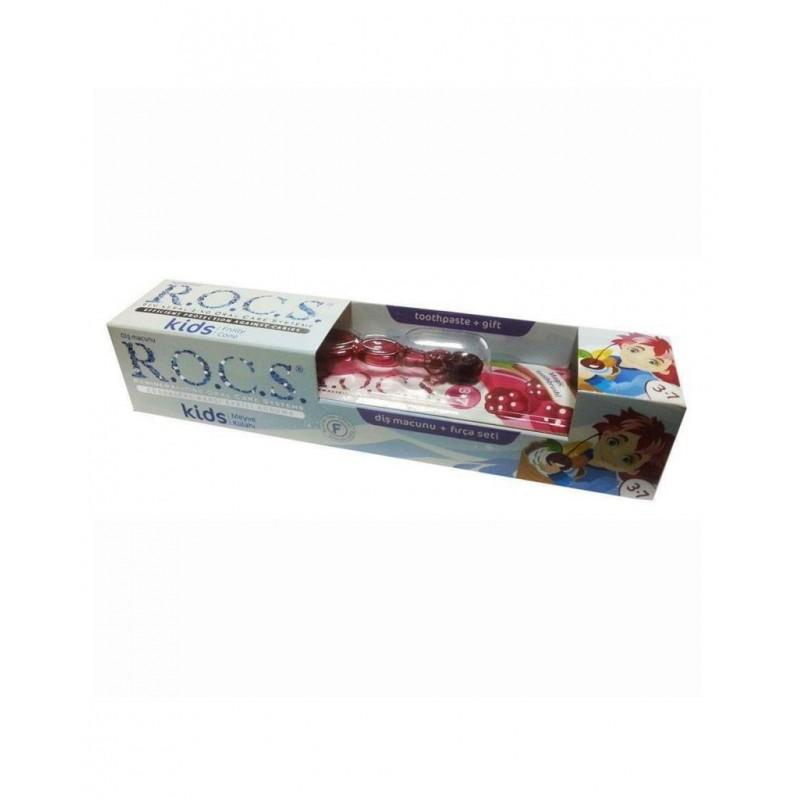 Rocs Kids 3 - 7 Yaş Diş Fırçası + Diş Macunu Meyve Külahı 35 ml / Bordo