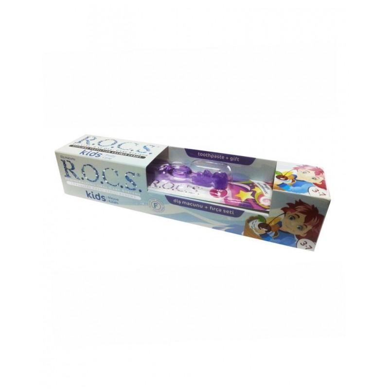 Rocs Kids 3 - 7 Yaş Diş Fırçası + Diş Macunu Meyve Külahı 35 ml / Mor