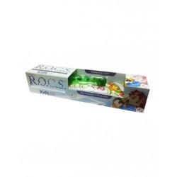 Rocs Kids 3 - 7 Yaş Diş Fırçası + Diş Macunu Meyve Külahı 35 ml / Yeşil