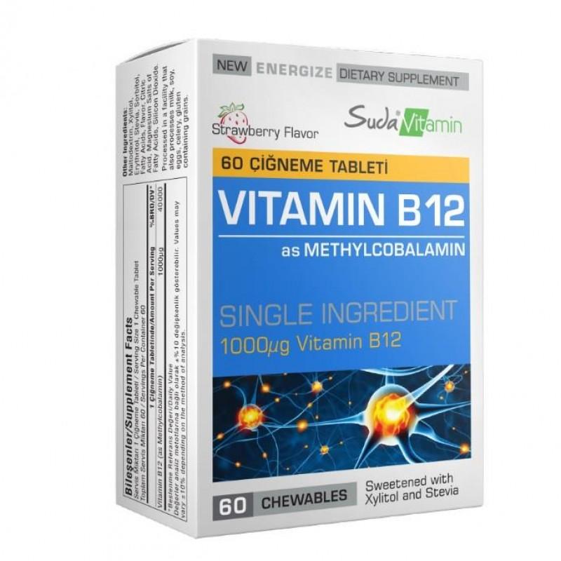 Suda Vitamin Vitamin B12 1000 mcg 60 Çiğneme Tablet