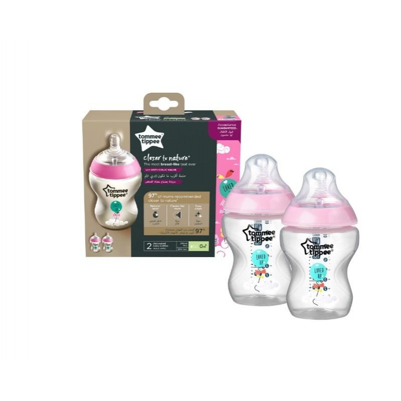 Tommee Tippee Closer to Nature PP Biberon 2 x 260 ml - Pembe