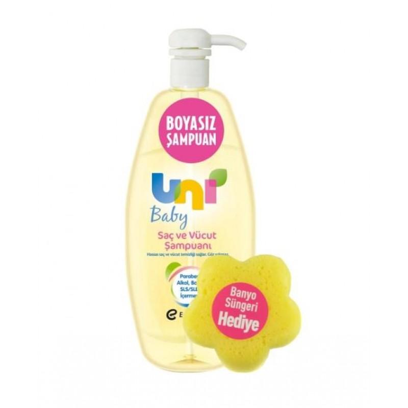 Uni Baby Saç ve Vücut Şampuanı 750 ml & Banyo Süngeri Hediye