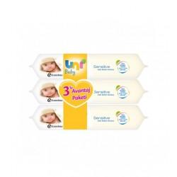 Uni Baby Sensitive 3'lü 56 Adet Islak Havlu
