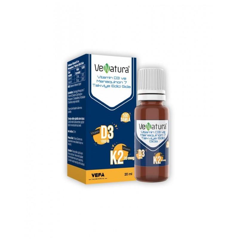 VeNatura Vitamin D3 ve Menaquinon 7  20 ml